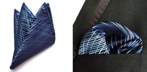 Men Blue White Striped Silk Neck Tie Set Necktie Pocket Square Handkerchief Set