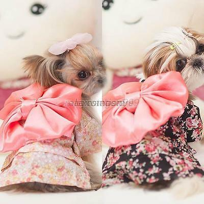 Dog Pet Clothes Floral Japanese Kimono Bow Tie Shirt Costume New Princess Dress
