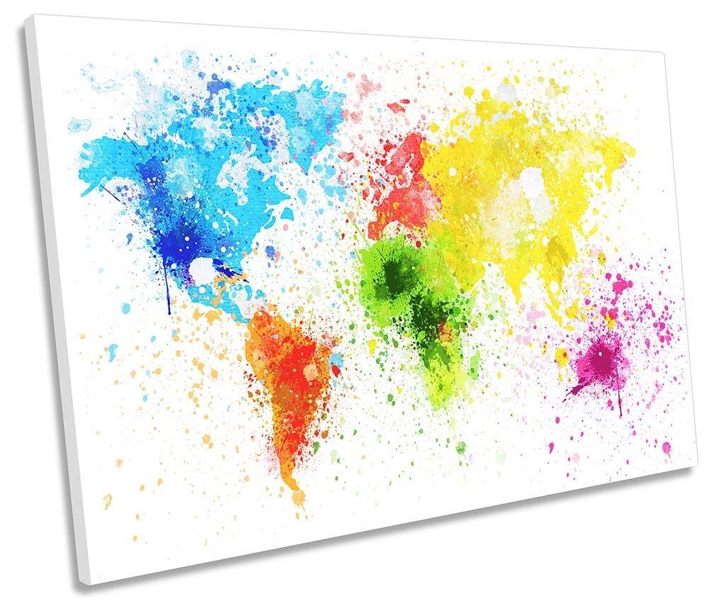 Map of the World Splatter SINGLE CANVAS WALL ARTWORK Print Art