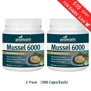 2-x-Good-Health-New-Zealand-Green-Lipped-Mussel-6000-300-Caps-Joint-Support