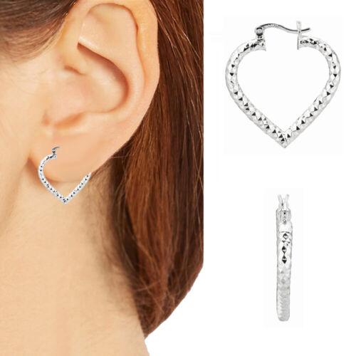 Sterling Silver Shiny Heart Shape Hoop Earrings  inch