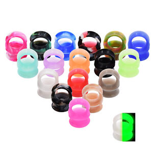 PAIR-Ear-Gauges-Flesh-Tunnels-Thin-Silicone-Double-Flared-Ear-Plugs-Multicolor