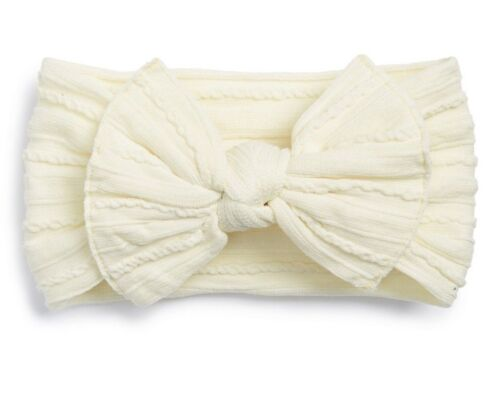6mo Cream Ivory NEW Baby Bling Bows Headbands Cable Knit Knots Fits Newborn