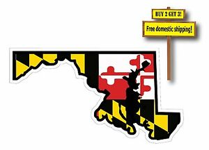 State of Maryland Die Cut Decal/Sticker with Flag superimposed Baltimore Crabs