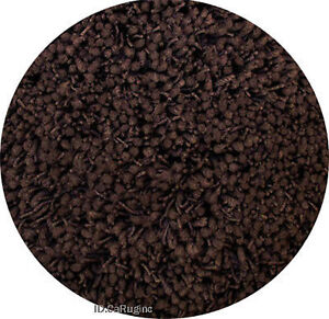 5x5 Round Area Rug Shaggy Shag Chocolate Brown 2 Inch Plus