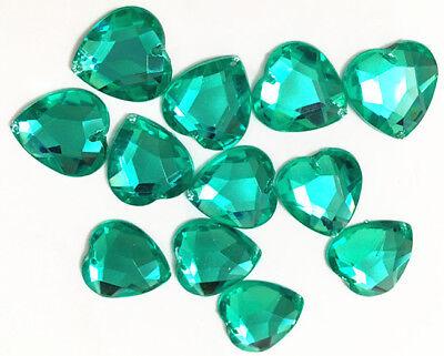 40 Light Emerald Love Heart Beads Acrylic Rhinestone//Gems 16 mm Flat Back Sew On