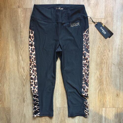 bebe sport Bling logo Cheetah Leopard Capri Yoga Gym Black Brown Tan XS S M L!