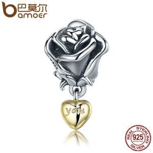 BAMOER-Real-925-Sterling-silver-Charm-True-love-rose-Flower-For-bracelet-Jewelry