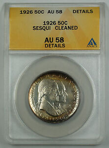 1926-Sesqui-Commemorative-Silver-Half-Coin-ANACS-AU-58-Detail-Cleaned-Toned