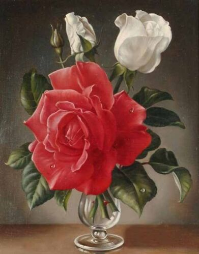 Dream-art Oil painting still life Nice roses flowers in glass vase hand painted