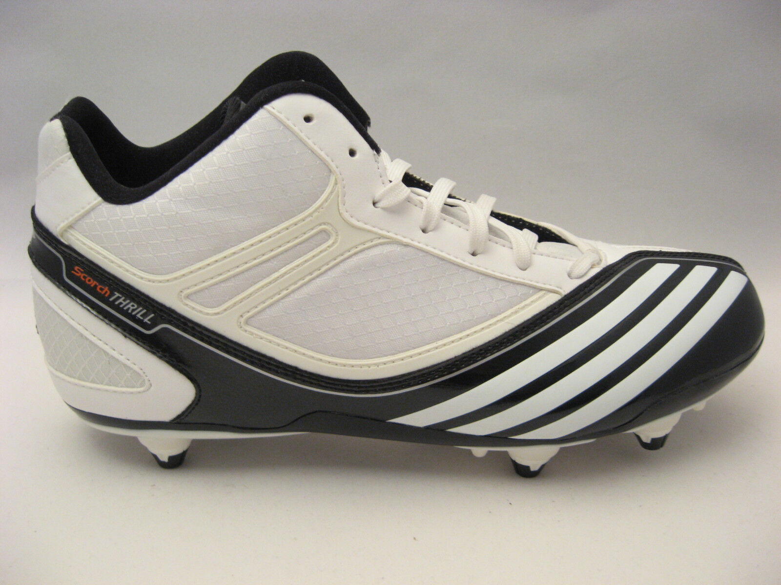NEW Mens 8 adidas Football Cleats Size 8 Mens Scorch Thrill Mid D White Black Shoes 99 103122