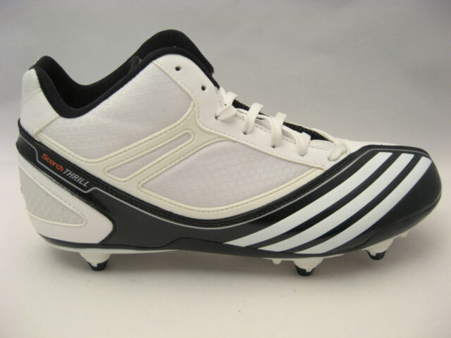 size 40 e0f88 d7b8e NEW Mens adidas Football Cleats Size 8 Scorch Thrill Mid D White Black Shoes  99