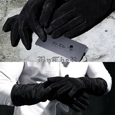 ByTheR Men's Fashion Chic Shammy Leather Rogue Leather Unique Black Gloves UK