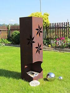 Feuer-Saeule-Saeule-Edelrost-Rost-Metall-Gartendeko-Stele-Fackel-Windlicht-Blume