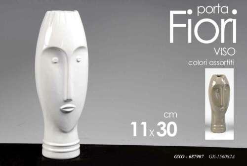 Vaso Porta Piante Fiori Vasi Figura Ceramica Viso Etnica Bianco o Tortora 30 cm
