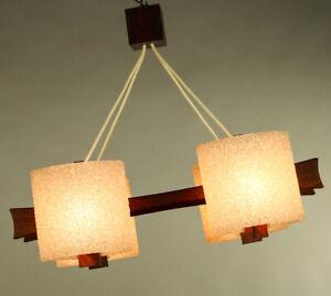 Scandic-Design-Pendel-Leuchte-Teak-amp-Granulat-Haenge-Lampe-Vintage-Dansk-60er