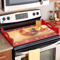 Burner Covers Electric Stove Gas Glass Top Wooden Ottoman Serving Tray Rooster