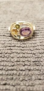 Sterling-Silver-Multi-Gemstone-Ring-size-8-One-of-a-kind-5-different-stones
