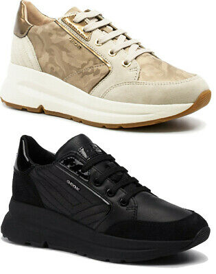 Geox Respira Backsie D94FLA Chaussures Femme Baskets Cuir Daim Compensé Lacets | eBay
