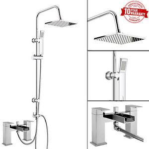Image Is Loading 3 Way Modern Square Rigid Riser Shower Kit