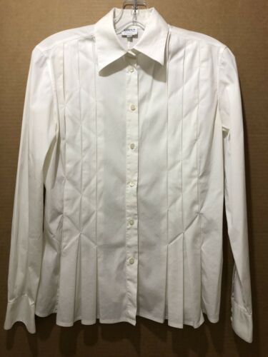 Armani Collezioni ITALY Ivory Pleated Button Up W… - image 1