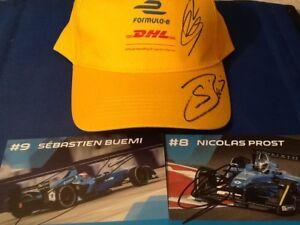 Sebastien-Buemi-amp-Nicolas-Prost-Signed-Renault-Formula-E-Official-DHL-Cap-amp-Cards