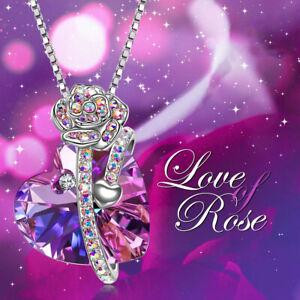Chain-Heart-Pendant-Necklace-Purple-Cubic-Zirconia-CZ-Jewelry-Size-20-034-Cttw-3-4