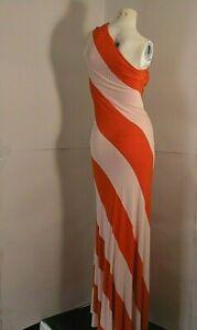 Ted-Baker-London-Full-Length-Dress-Ligth-Pink-Orange-034-Chevron-034-Single-Row