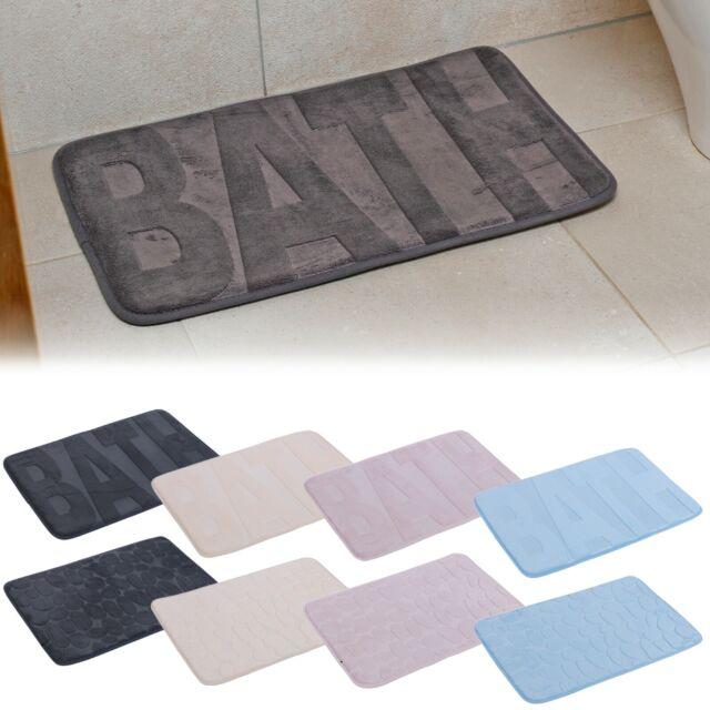 Premier Bathroom Grey Shower Mat PVC Non Slip Solid Pebble Design Rug