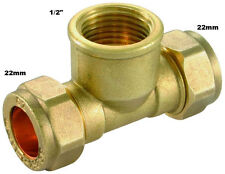 """22mm x 22mm x 1/2"""" Threaded Center Compression Tee - Female - Brass Compression"""