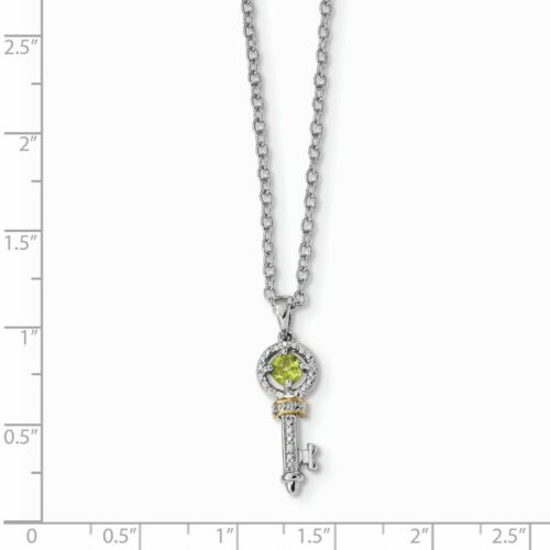 Details about  /Sterling Silver Sterling Silver /& 14K Rhodium Plated Peridot and Diamond Key Nec