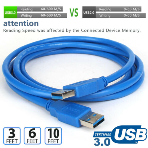 2018 SuperSpeed USB 3.0-USB to USB Cable A to A Male to Male 3FT 6FT 10FT Lot CA