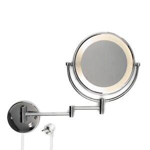 Wand kosmetikspiegel schminkspiegel badspiegel mit led beleuchtung 10fach zoom ebay - Schminkspiegel mit beleuchtung ...