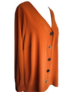 Evans-Orange-V-Neck-Blouse-Button-Up-Boho-Pocket-Relaxed-Fit-Tunic-Plus-Size-22