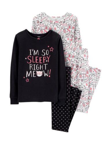New Carter/'s 4-Piece I/'m So Sleepy Right Meow Pajama Set 6 7 8 10 12