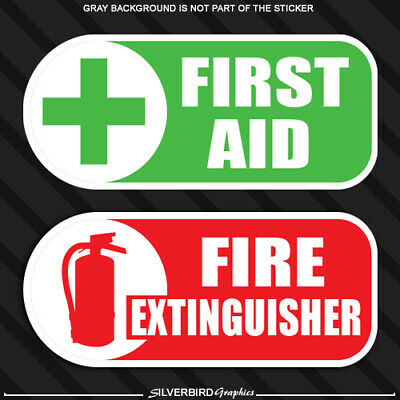FIRST AID KIT /& EXTINGUISHER ON-BOARD CAR VAN STICKERS EMERGENCY//SAFETY