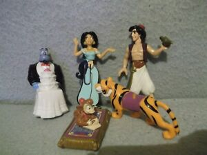 Lot-of-5-DISNEY-Mattel-Aladdin-mini-figures-Jasmine-Genie-Tiger-Monkey-3-034-5-034