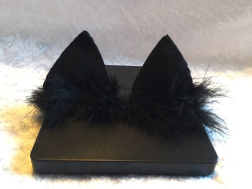 Handmade Black Cat Ears With Fur Baby Headbands Girl Newborn Elastic Band Infant