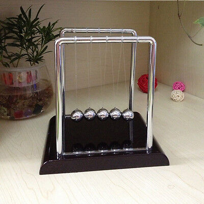 Newtons Cradle Steel Balance Balls Physics Science Pendulum Desk Accessory SR1G