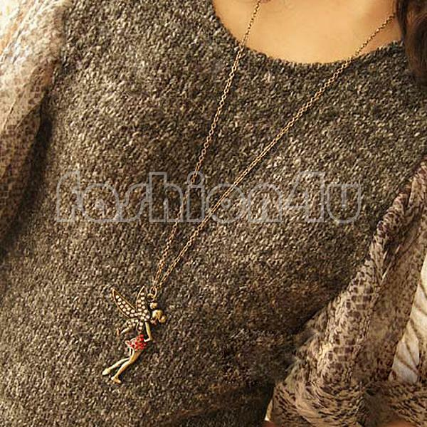 Retro Style Bronze Rhinestone Fairy Pendant Long Chain Sweater Necklace