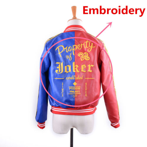"""HARLEY QUINN /""""PROPERTY OF JOKER/"""" COSPLAY COSTUME JACKET SUICIDE SQUAD EMBROIDED"""