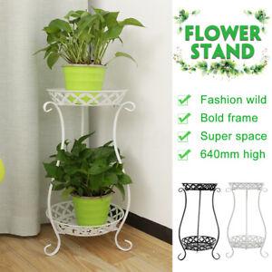 2-TIER-Metal-Shelves-Flower-Pot-Plant-Stand-Display-Indoor-Outdoor-Garden-D