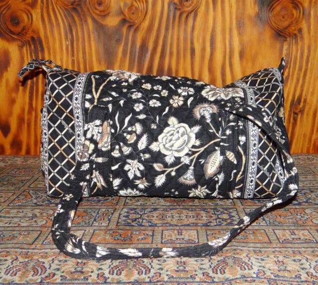 Vera Bradley Notting Hill Duffel Purse Black and White Chintz Pattern