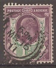 1902 EDVII 11/2d DLR PRINTING SLATE PURPLE & GREEN SG222 USED PERFIN ''ULS''