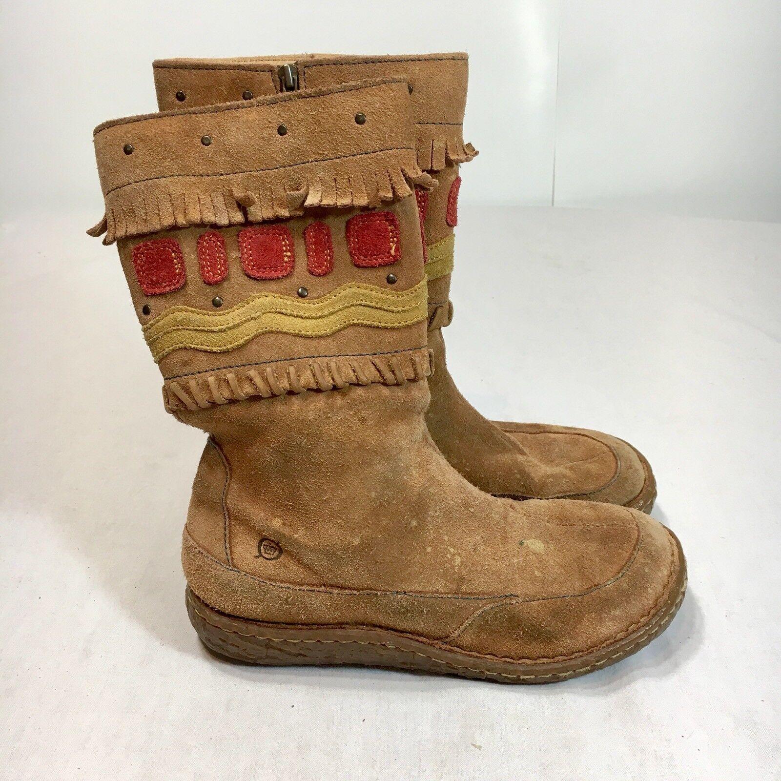 Born Born Born Concept Boc Women's 3 / 35 Brown Suede Leather Moc Toe Aztec Pattern Boots 19aa7f