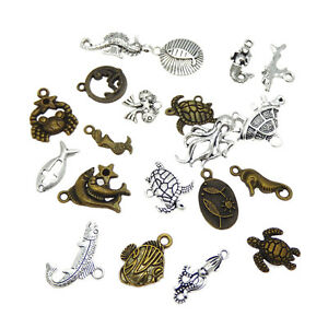 Pack-of-20-Vintage-Bronze-and-Silver-Metal-Marine-Animals-Pendants-Charms-DIY