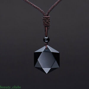 ae9391caf0cc4 Details about Natural Stone Black Obsidian Hexagram Pendant Necklace  Sweater Chain Gift
