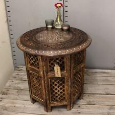 Large Side Table with Aluminium Inlay Indian Mango Wood Hand Carved End Coffee