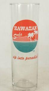 "HAWAIIAN SODA soda pop fountain drink glass Hawaii 2 color palm tree paradise 7"""