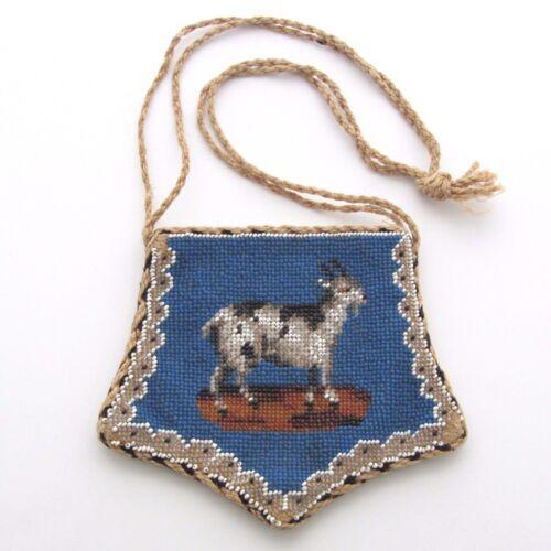 Antique Scottish Beaded Purse Featuring Goat and C